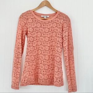 Forever 21 Sheer Lace Long Sleeve Top Mauve